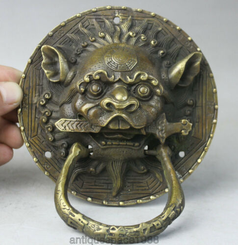 EXQUISITE Chinese OLD Dynasty Feng Shui Bronze Foo Fu Dog Lion Head Door Knocker
