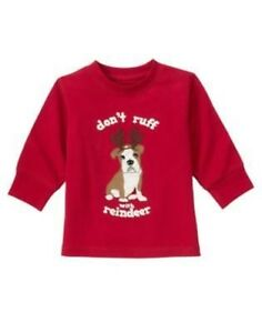 GYMBOREE SNOW TRACKS RED PUPPY REINDEER Don't Ruff TEE 6 12 18 3T 4T 5T NWT