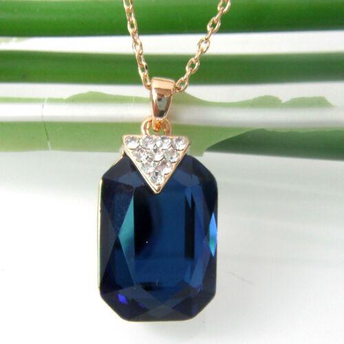 18K GP Cristal Collier Pendentif BH6038 Navachi carré bleu zircon