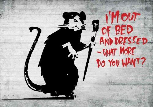 BANKSY inspired Street Art Graffiti Out Bed Rat Garage Wall Kitchen Metal Sign