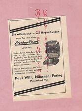 MÜNCHEN-PASING, Werbung 1938, Paul Will Electro-Bewi Belichtungsmesser Foto Film