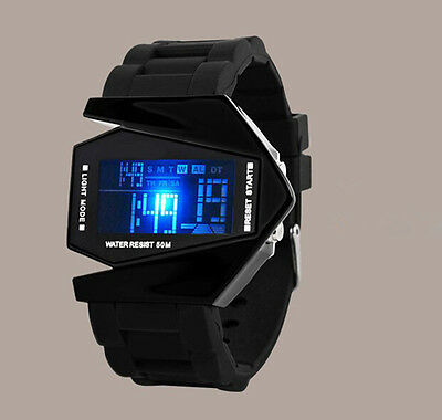 Sport Digital LED Luxury Men's Fashion Black Stainless Steel Wrist DIAL Watch