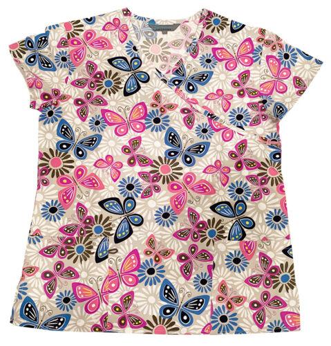 Womens Microfiber Medical Scrub Printed Tops Gray Base Blue Pink Butterflies XL