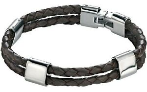 "Fred Bennett 8.5"" Stainless Steel Men's Twin Strap Woven Brown Leather Bracelet"