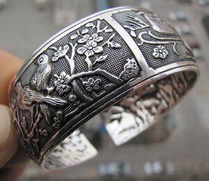 Tibetisch-Tibet-Silber-Chinesisch-Vogel-Blume-Totem-Breite-Armreif-ManschetteXUI