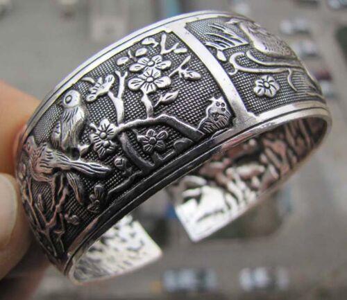 Tibétain Tibet argent chinois oiseau fleur Totem large bracelet manchette k