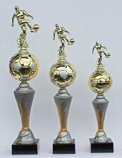 """3er-Serie Pokal Pokale Fußball Figuren """"on Fire 2.0"""" inkl. Gravuren"""