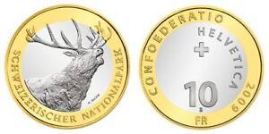 Switzerland-10-francs-2009-Bi-Metallic-UNC-Red-Deer