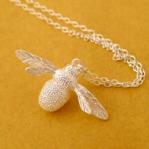 Solid-925-Sterling-Silver-Insect-Big-Bumble-Bee-Queen-Bee-Pendant-Chain-Necklace