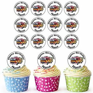 Firefighter Truck 24 Personalised Pre Cut Edible Birthday Cupcake