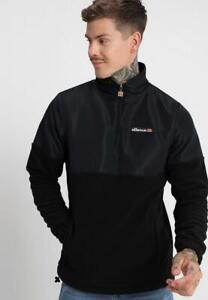 Ellesse-Mens-Fleece-Jumper-Sweatshirt-Zip-Neck-Black-Ortego-Medium-New