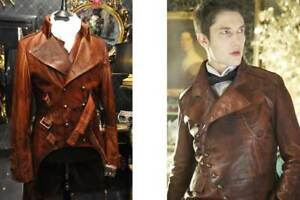 Men-039-s-Steampunk-Gothic-Military-Brown-Distressed-Leather-Trench-Coat-Jacket