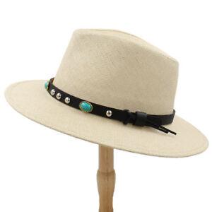 Summer Fashion Women Men Beach Wide Brim Floppy Panama Straw Hat ... 8e16038a454d