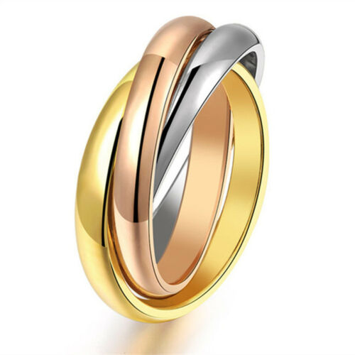 Argent//Or 316 L acier inoxydable Triple Tons Liens Band Tri-Roll Ring Taille 6-12
