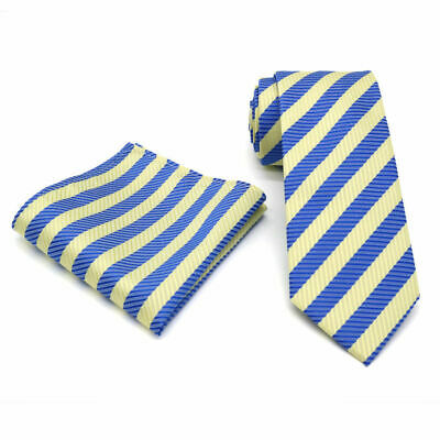 Yellow and Blue Striped Patterned Handmade 100/% Silk Wedding Tie 8cm Width