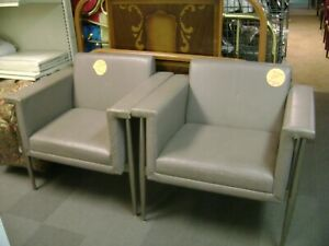 Peachy Details About Bernhardt Grey Taupe Modern Deco Arm Chairs Set 2 Pabps2019 Chair Design Images Pabps2019Com