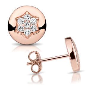 zu Füßen bei Shop für echte einzigartiges Design Details zu Damen Ohrringe Stecker Stern Ohrstecker rund 925 Silber /  Rosegold mit Zirkonia