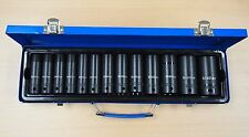 "1/2"" Dr Deep Impact Socket Set Metric Thin Wall 13 Sockets 11 – 32mm 14 Pc"