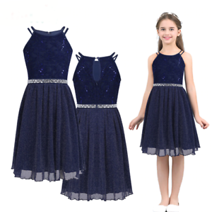 Details about New Bridesmaid Princess Wedding Flower Girl Dress Navy Lace  Party Kids Clothes