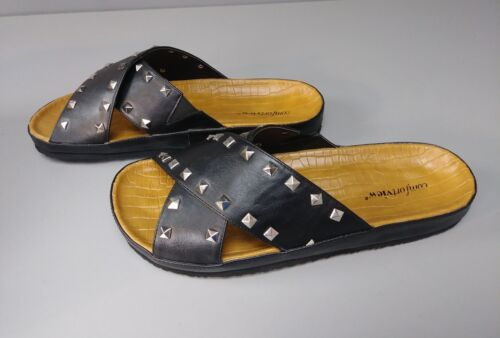 Comfortview Women/'s Gia Footbed Sandal Black Studded Size 8W New
