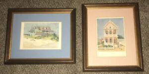 Set-Of-2-Alice-Steer-Wilson-Framed-Matted-Water-Color-Prints-Coastal-Houses
