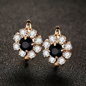 Flower-Style-Black-Onyx-White-Topaz-Gems-Yellow-Gold-Plated-Stud-Hook-Earrings