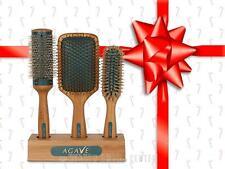 Bio Ionic Agave Healing Oil Natural Bamboo Hair Brushes - SET 3 Brushes (Paddle,