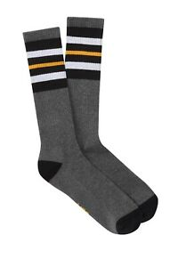 UGG-Mens-Crew-Socks-Size-8-12-5-Charcoal-Heather-Stripe