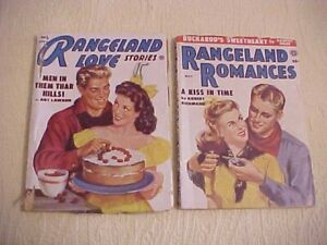 RANGELAND-LOVE-Pulp-Romance-Magazines-April-1952-amp-May-1954-AS-IS