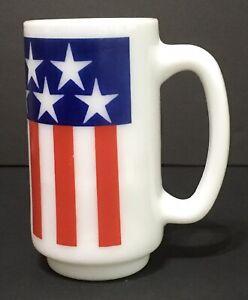 American Flag Coffee Mug Milk Glass Usa Patriotic July 4th Military Red White Bl Ebay