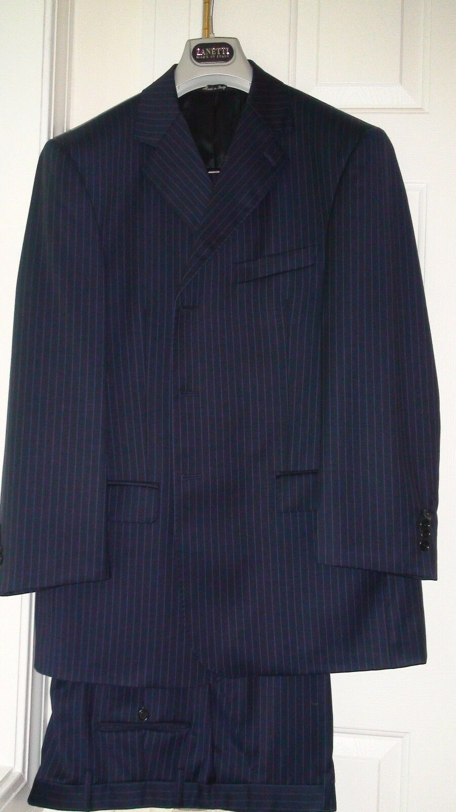 NEW ZANETTI NAVY SUPER 140's WOOL MEN'S SUIT sz. US 44  IT 54 MADE IN ITALY