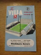 21/01/1961 Aston Villa v Blackburn Rovers  (Creased, Number Noted On Cover, Scor