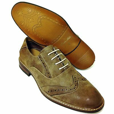 Men's Wing Tip Dress Shoes Brogue Toe Lace Up Fashion Oxfords Casual Brown Sizes