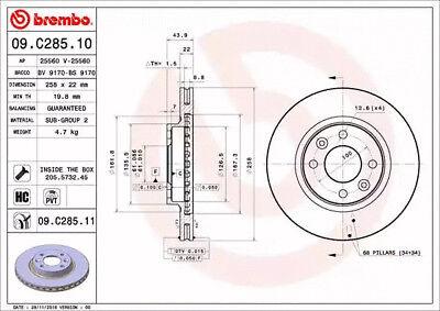 2x Brembo Disque De Frein 09.c285.11 pour DACIA RENAULT SMART