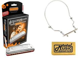 HOHNER Golden Melody Harmonica, Key A, Made in Germany, Case & Harmonica Holder,
