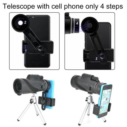 40x60 Monokulare Teleskop Stoßfest Anti-Fog Fernrohr mit Handy Halterung Stativ