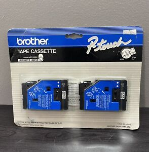 """Brother TC-20 P-touch Tape Cassette Black on White 1/2"""" (12mm) 2 Pack"""