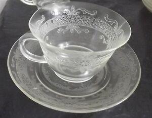 MacBeth-Evans-Clear-Stippled-Rose-Band-Cup-amp-Saucer-Set-of-4