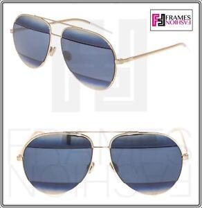 6b2943f69fb0 CHRISTIAN DIOR Split 1 Gold Blue Metal Aviator Sunglasses DIORSPLIT ...