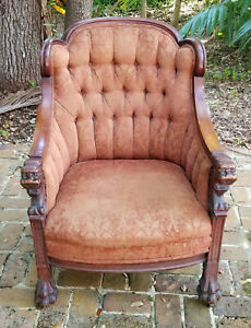 OPULENT-ANTIQUE-19c-VICTORIAN-CARVED-WOOD-LION-HEAD-BERGERE-ARMCHAIR-w-PAW-FEET
