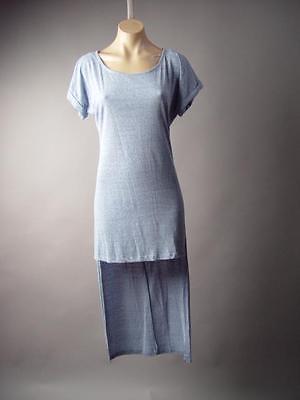 Marled Knit Casual Lounge Long Asymmetric High Low T-Shirt 199 MV Dress S M L