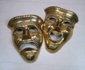 Antique Solid Lacquered Brass Comedy Drama Mask Theater Happy Sad