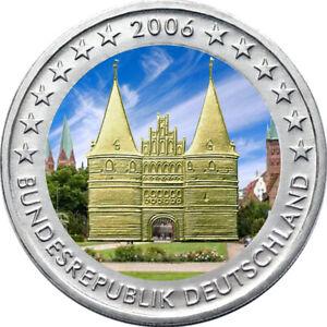 2-Euro-Gedenkmuenze-BRD-Deutschland-2006-Holstentor-coloriert-Farbe-Farbmuenze