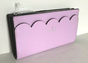 New Kate Spade Braylon Magnolia street Leather wallet Lavender