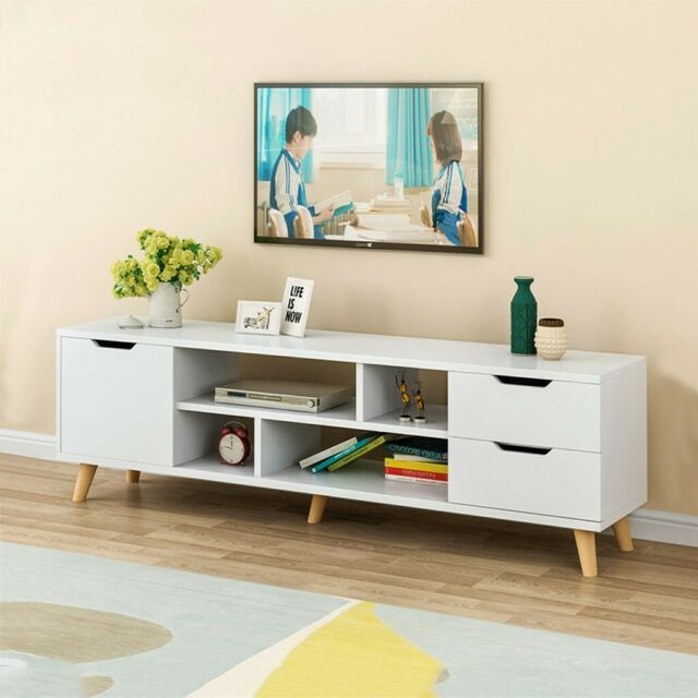 Tv Stand Entertainment Center Console, Tv Stand Media Storage Cabinet