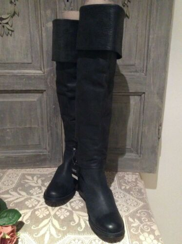 Next High £125 Rrp Boots~over Leather Heel~bnwt Black Beautiful Soft block Knee rxTvrfYwq