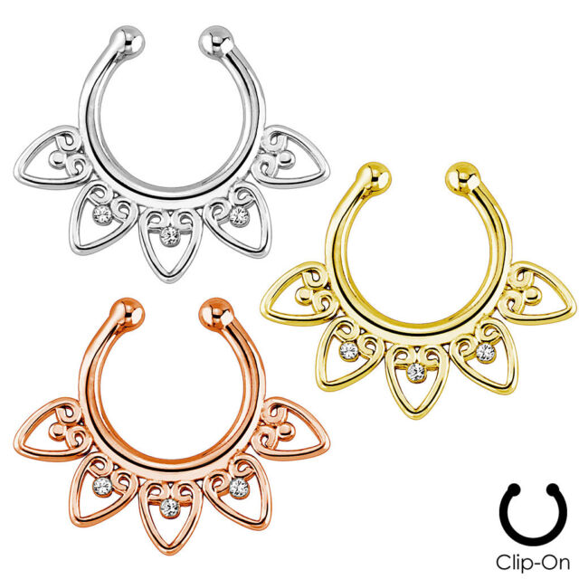 Fake Non-Piercing Tribal Fan Gems SEPTUM Nose Clip-On Hanger RINGS Body Jewelry
