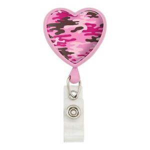 Pink-Camouflage-Heart-Lanyard-Retractable-Reel-Badge-ID-Card-Holder