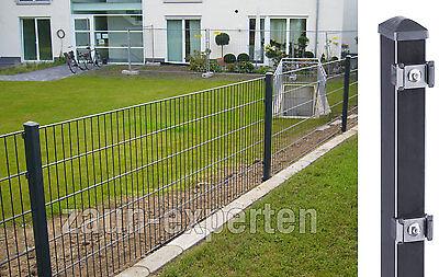 10 Meter Doppelstabmattenzaun Gittermatten Garten-Zaun-Set Anthrazit Höhe 103cm