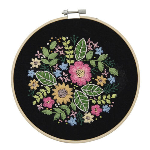 DIY Embroidery Kit Flower Pattern Cross Stitch Needlework With Hoop For Beginner